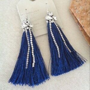 Anthropologie jewelled navy blue tassel earrings